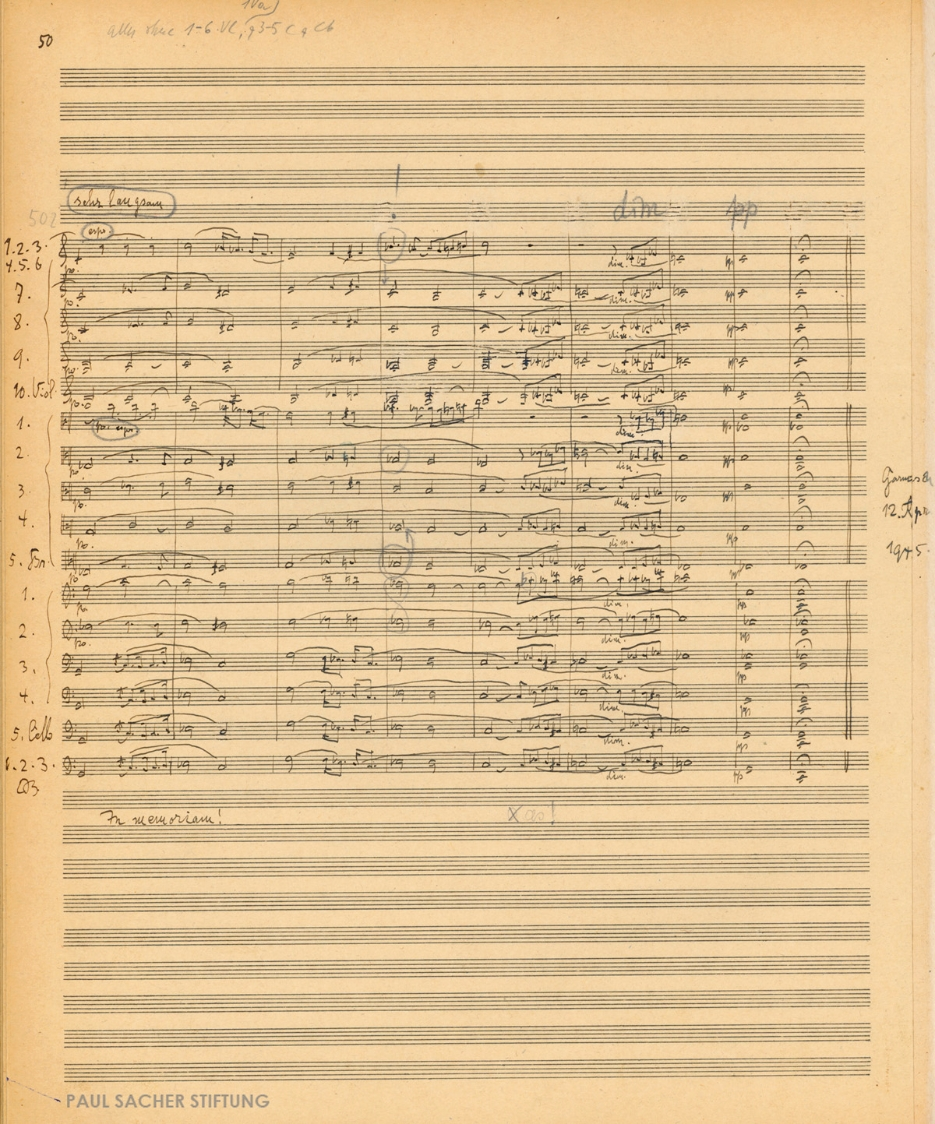 Richard Strauss, Metamorphosen: Study for 23 solo strings (1945). Second fair copy in full score with conductor's inscriptions by Paul Sacher, p. 50  (Paul Sacher Collection, PSS)